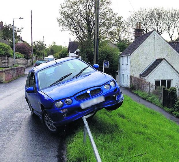Police are looking for the driver of a blue MG ZR Rover who ran away from them after crashing in Anchor Road, Calne