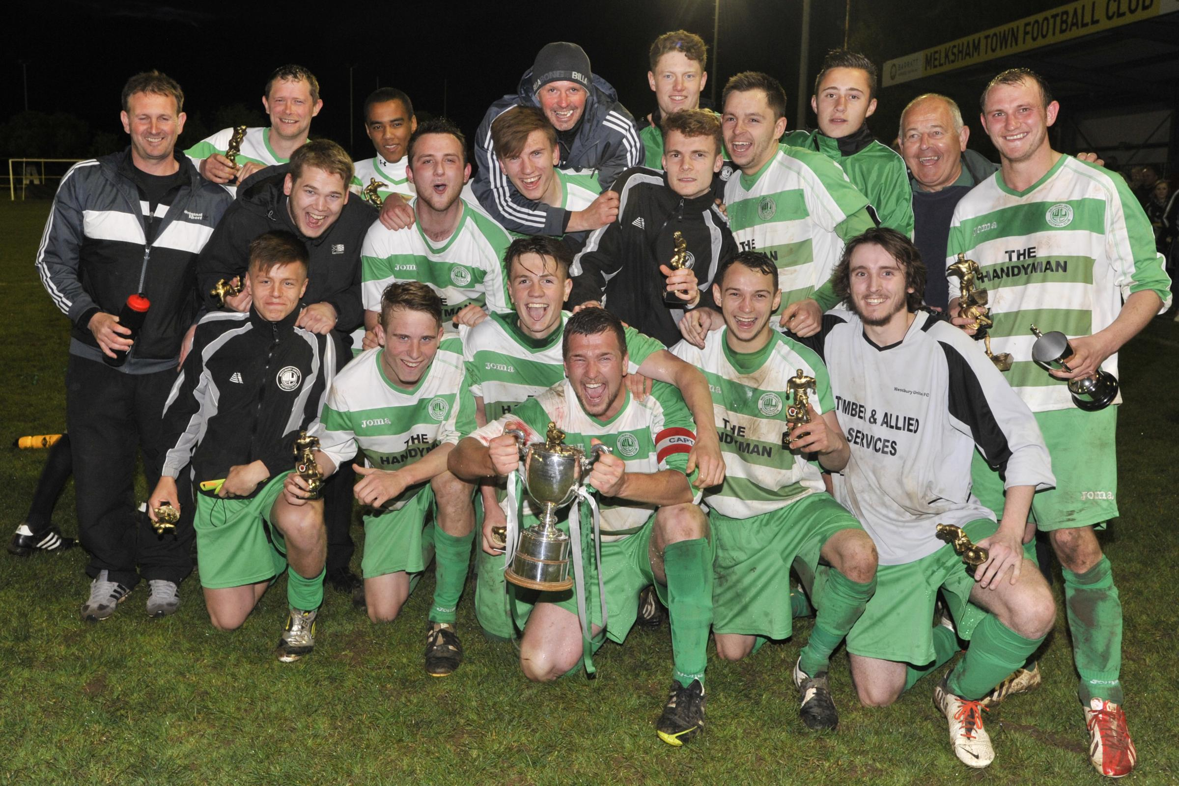 Westbury United Reserves celebrate with the Knockout Cup last night (Photo: Glenn Phillips)