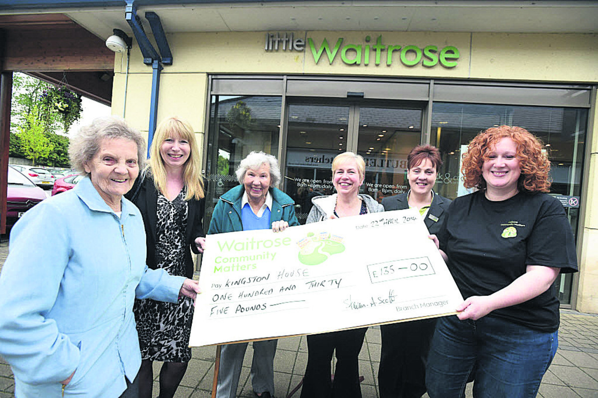 From left, Sylvia Matthews, Linda Summers, Barbara Hills (from Kingston House), Kingston House manager Carol Grainger, Waitrose team leader Katy Bartlett and Waitrose Community Matters champion Melissa Hunt
