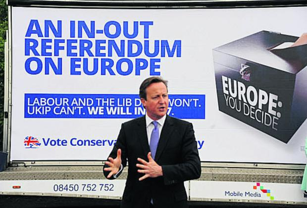 The Wiltshire Gazette and Herald: Prime Minister David Cameron at the Euro election campaign poster launch at Chippenham Rugby Club. Picture by Trevor Porter (48576)