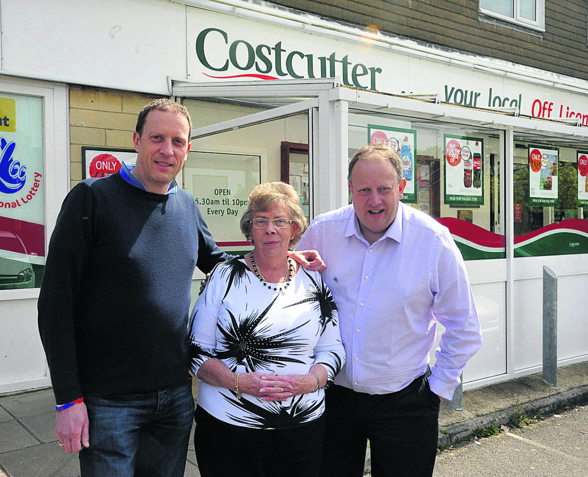 Mark Terrell, Kath Terrell and Richard Terrell outside Costcutter, which has closed after 32 years          (VS347) PICTURE BY VICKY SCIPIO