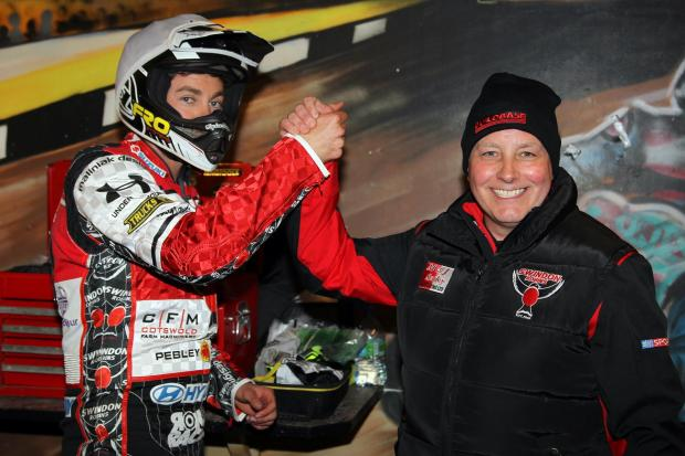 Alun Rossiter, right, and Swindon Robins captain Troy Batchelor