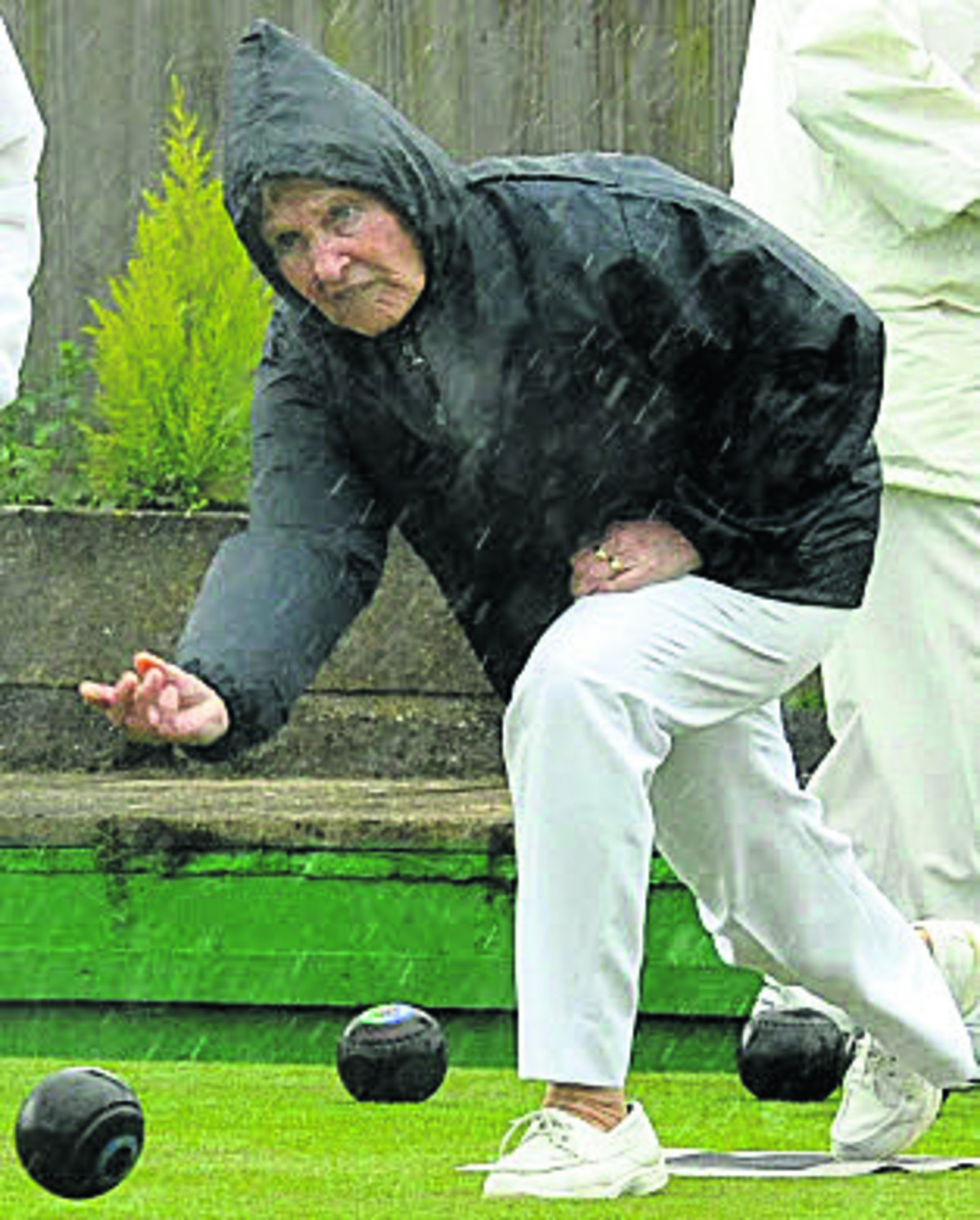 Devizes' Wendy Gaisford bowls for Wiltshire Ladies during Saturday's celebration match