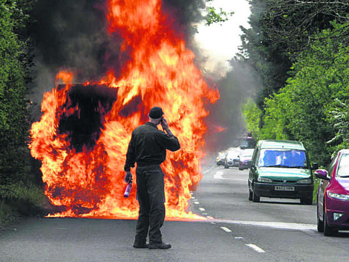 Van becomes blazing inferno on A420