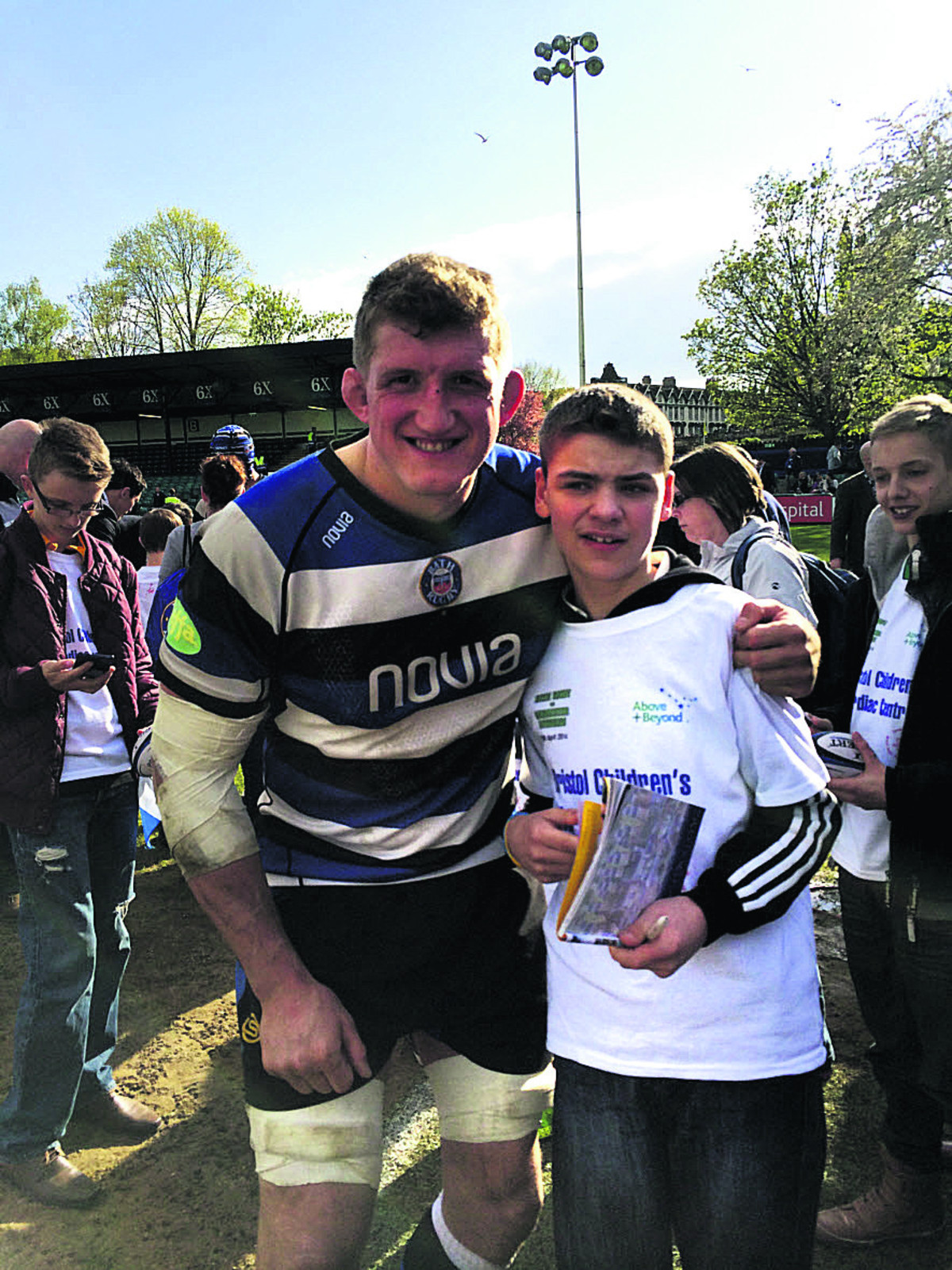 Bath RFC captain Stuart Hooper with Ben Sporle