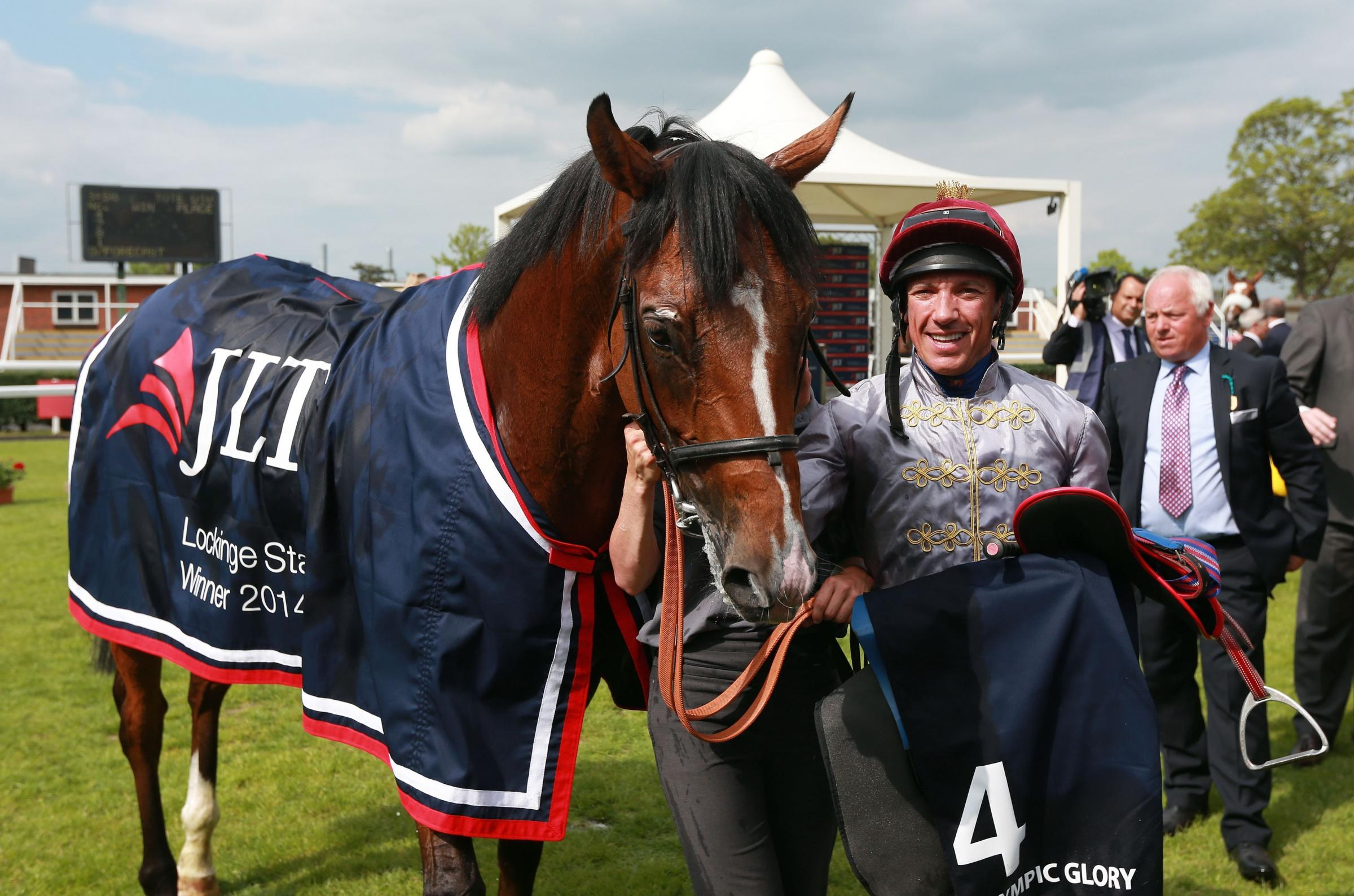 Frankie Dettori celebrates with Olympic Glory