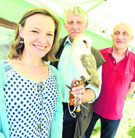TV presenter Miranda Krestovnikoff with Phil Dampier from the RSPB, Scrumpy the barn owl and organiser Geoff Carss