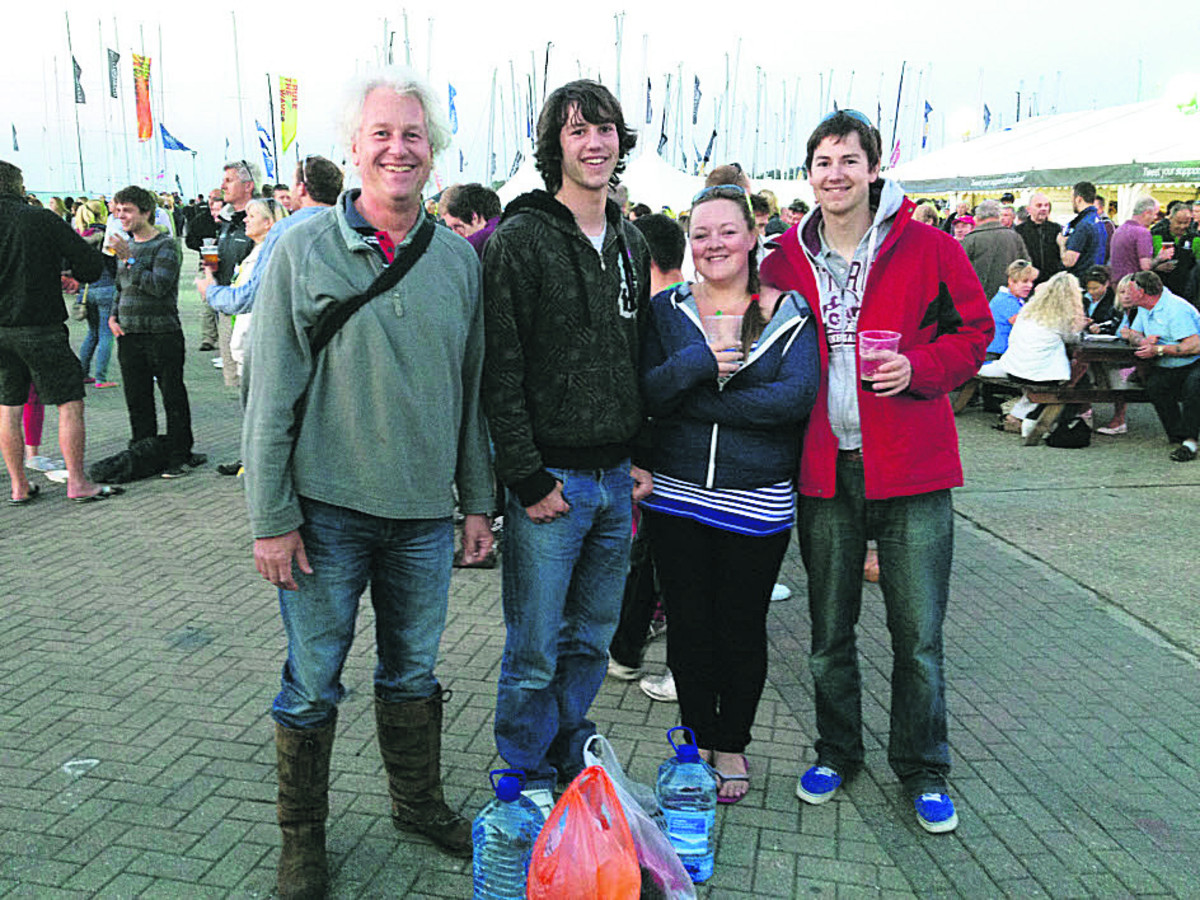 Neil Collings, left, with son Marcus, Sophie Starkie and Neil's other son, Graeme