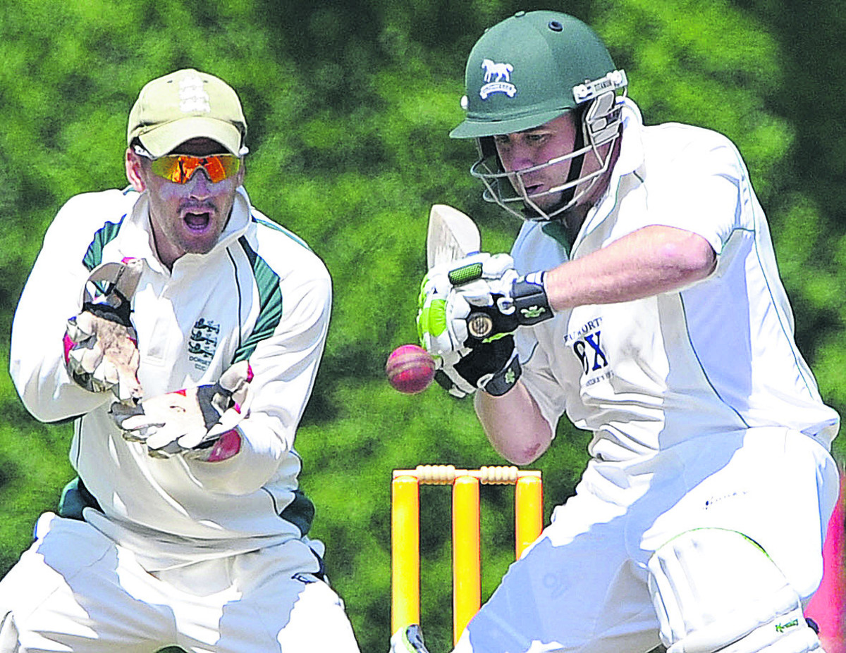 Wiltshire's James Hayward is watched by Dorset wicketkeeper Chris Park during Sunday's match in Bournemouth