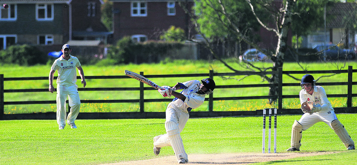 Potterne's Luke De Souza hits one of six sixes during his innings of 71 against Bath on Sunday (Picture: Johnathan Rose)