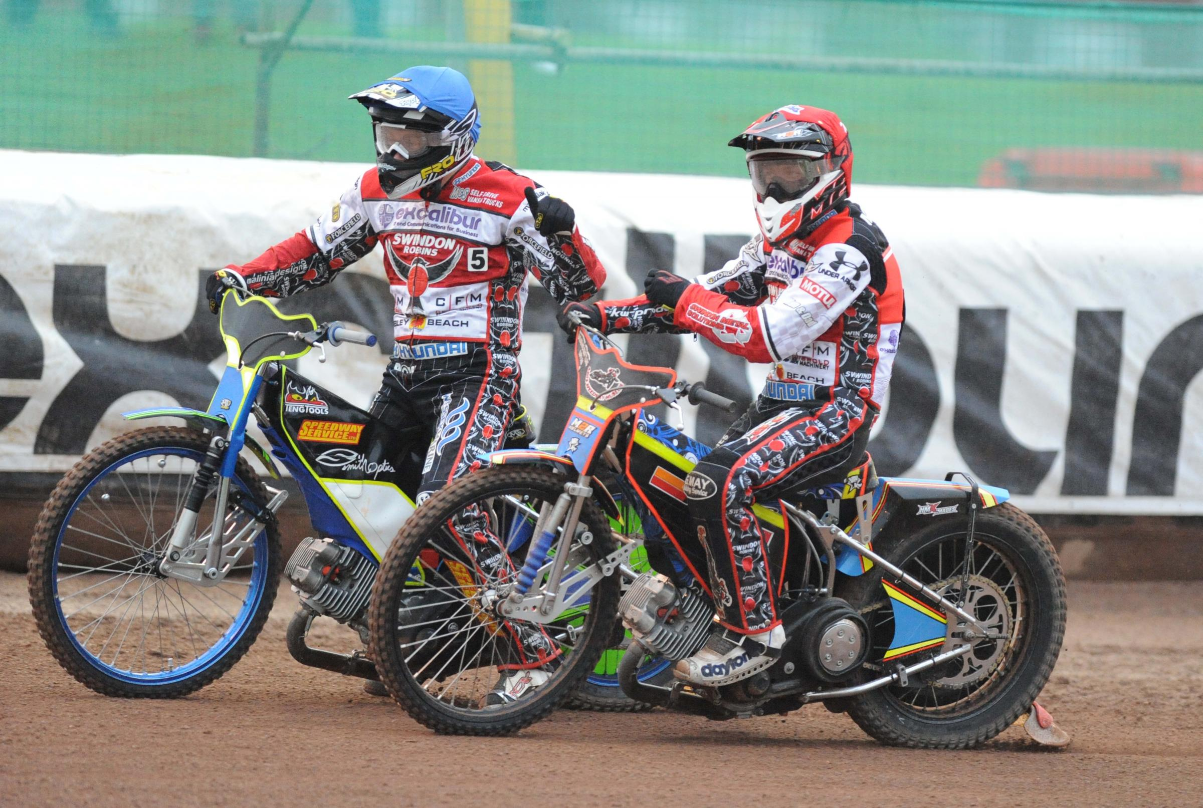 Troy Batchelor and Nick Morris celebrate their one-two in heat three