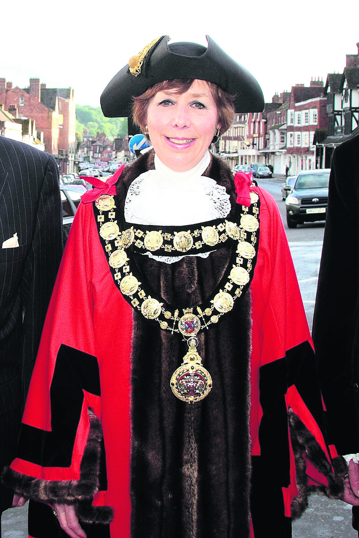Coun Marian Hannaford-Dobson resplendent in the new mayoral chains and robes