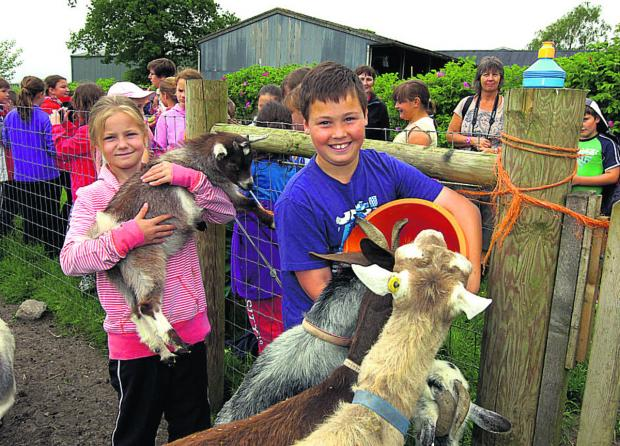 Megan and Ryan enjoy meeting goats at Rowdefield Farm, Rowde