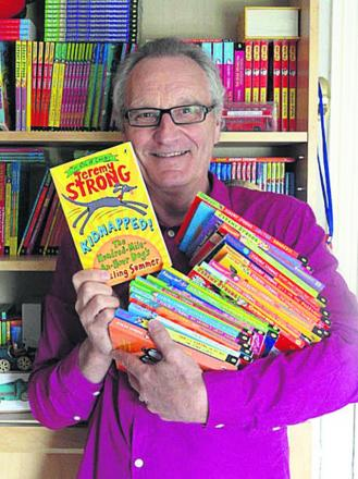 Children's author Jeremy Strong celebrates the publication of his 100th book, Kidnapped! The Hundred-Mile-An-Hour Dog's Sizzling Summer