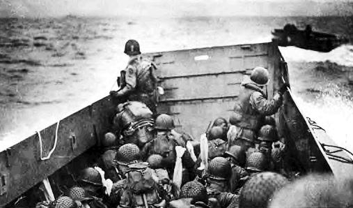 Troops head for a Normandy beach in 1944