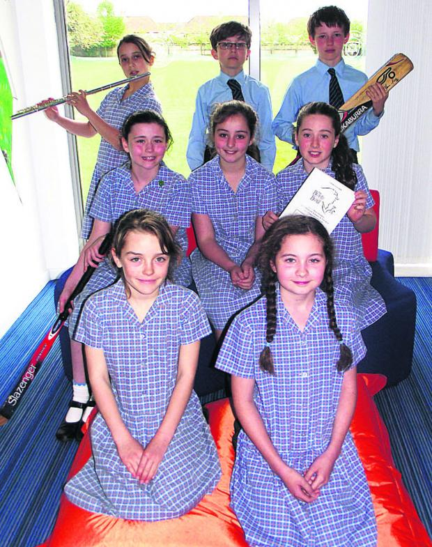The Wiltshire Gazette and Herald: Pictured are, back, Ava, Nadim, Nick; middle, Maisie, Lily, Katherine; front Belinda
