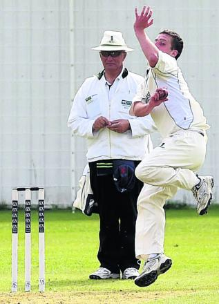 Burbage & Easton Royal's James Lavis bowls during his side's defeat by Marshfield on Saturday
