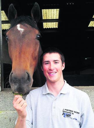 James Harding with horse Jebril, who he rode to victory at Newbury last Saturday