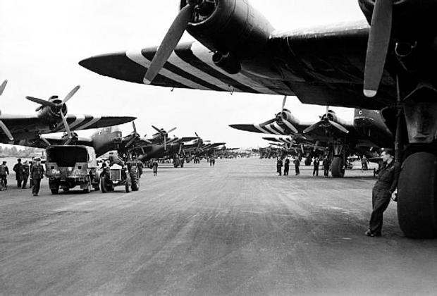 The Wiltshire Gazette and Herald: Stirling bombers at Keevil Airfield before their D-Day missions
