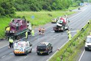 The accident scene on the M4 on Monday. Three people have now died