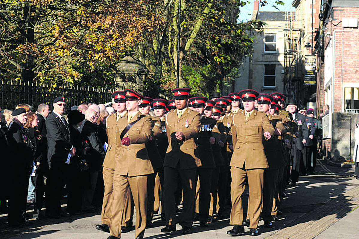 The Royal Regiment of Artillery at the Trowbridge remembrance parade two years ago