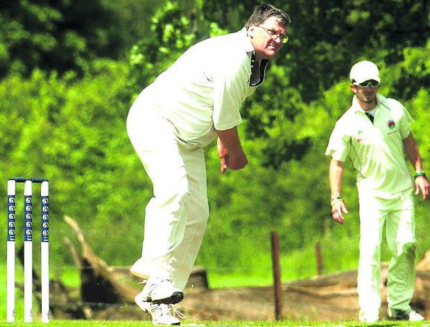 Urchfont bowler Keith Bills pictured during his side's victory over Bradford on Avon, in which he took four wickets