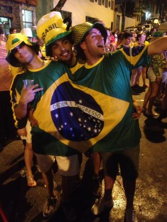 Justin Cook, right, enjoying the party in Sao Paolo last night