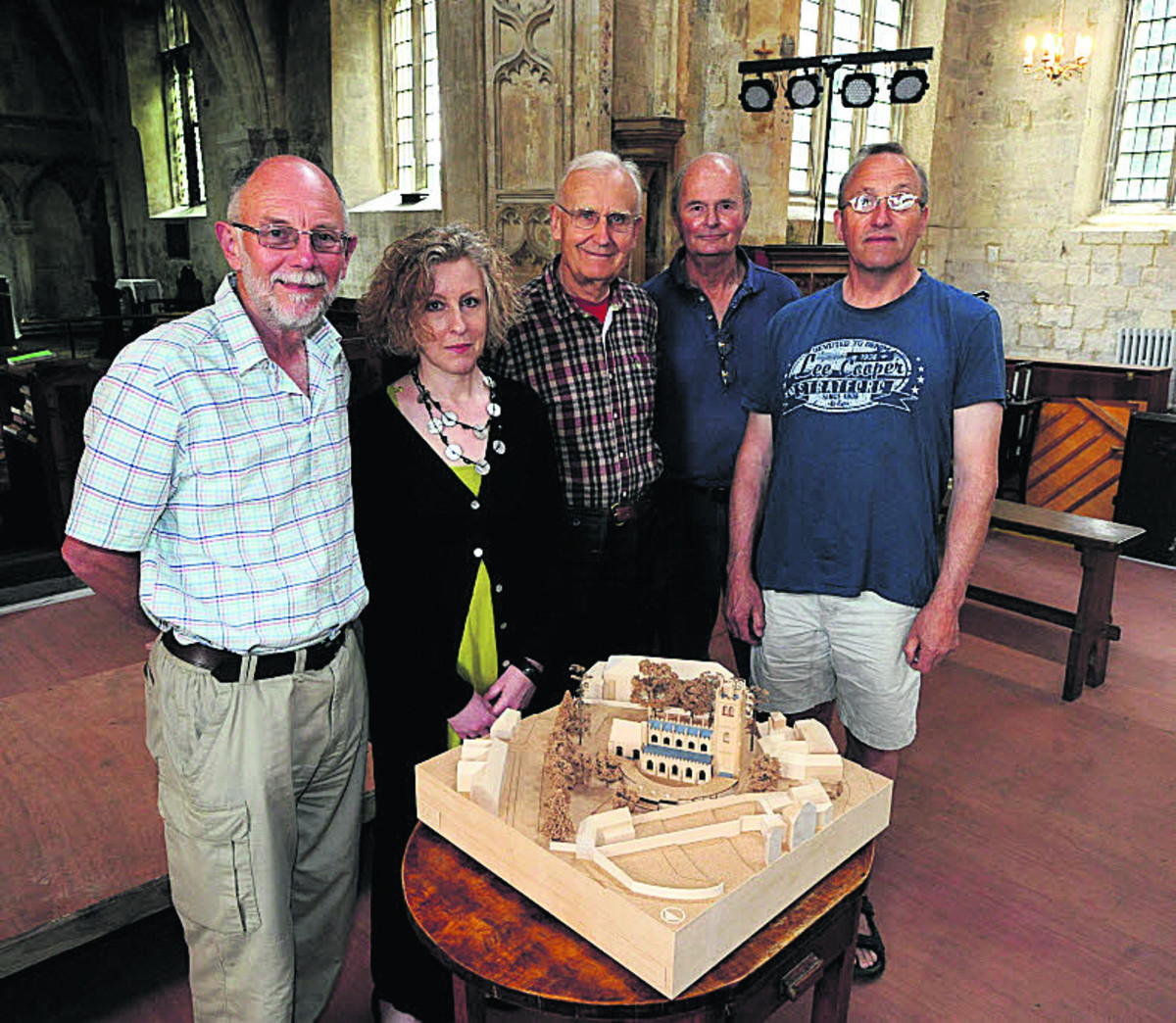 Refused: Tony Scorer, Ida McConnell, Charlie Slater, Stephen Brazier and Paul Morgan look at the model for the cloister they want built at St Mary's Chur
