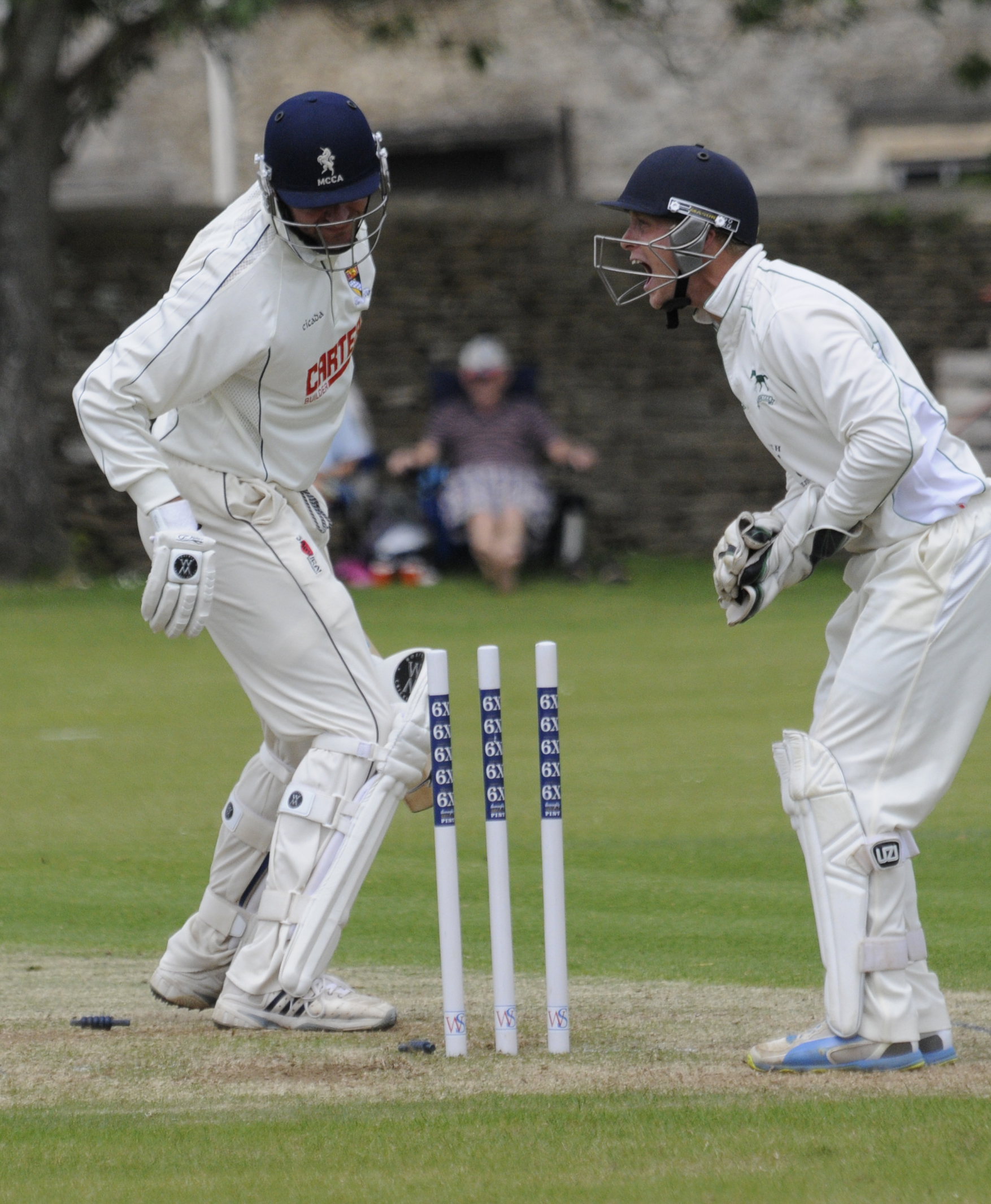 Norfolk's Chris Brown is out to the delight of wicket keeper Adam Miles