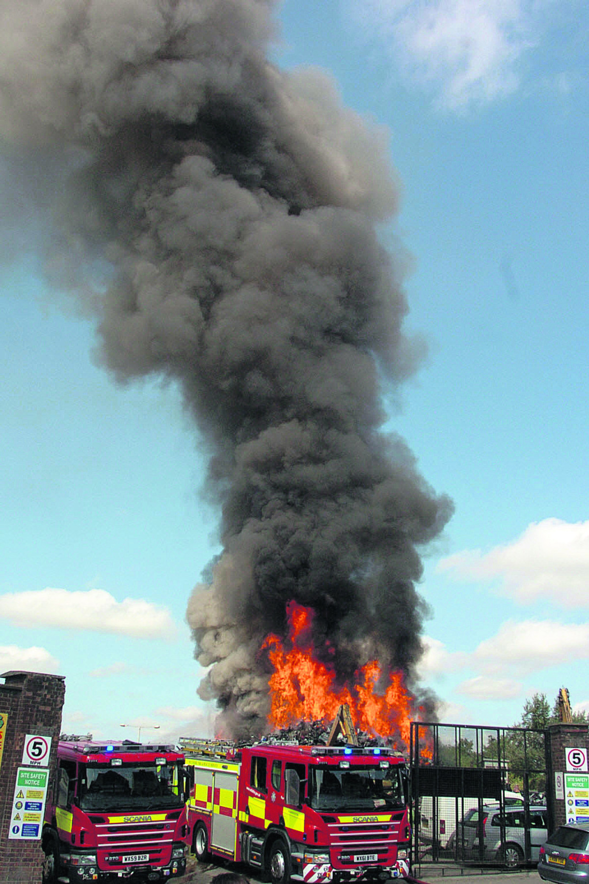 Trowbridge fire crews suspend strike action to quell scrapyard blaze
