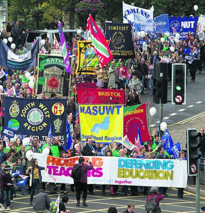 Teachers rally in Bristol during the strike in October last year