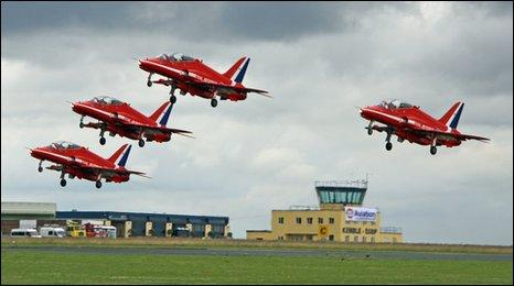 The Red Arrows take off