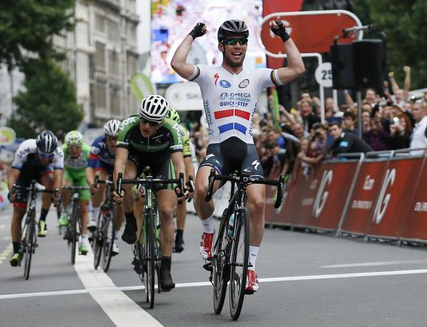Mark Cavendish celebrates winning the final stage of last year's Tour of Britain