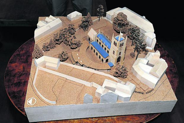 The model of the proposed St Mary's cloister extension. It is hoped this will help support the application at the appeal i
