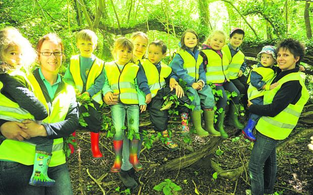Hilmarton pre-schoolers are learning about making dens getting out and about with their forest school every Tuesday