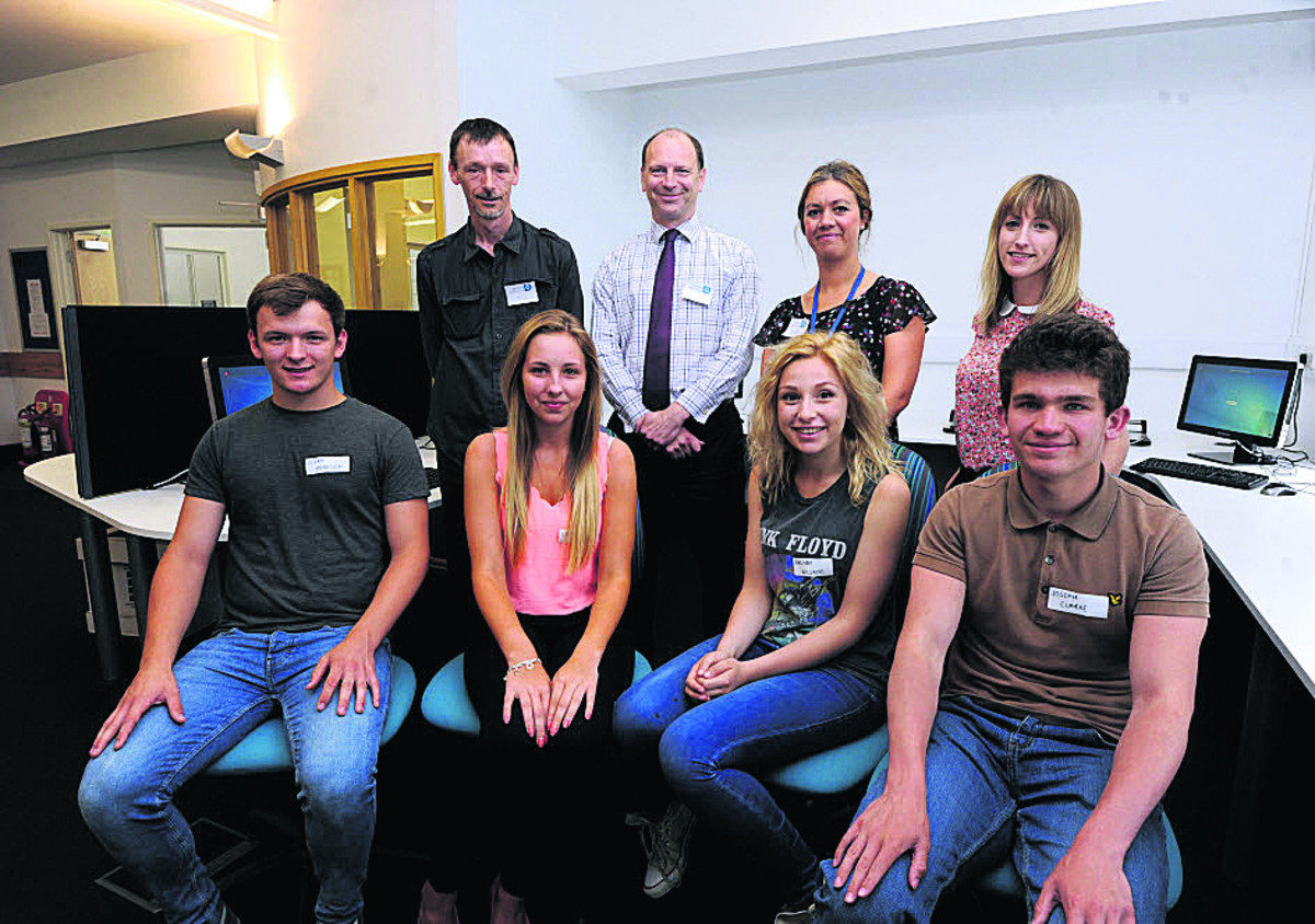Aster Group mentors, back, Ian Cory, Ian Copus, Leanne Crook and Chloe Ashpole with  students Joe Morrison, Lily Elder, Aaliyam Williams and Joseph Clarke
