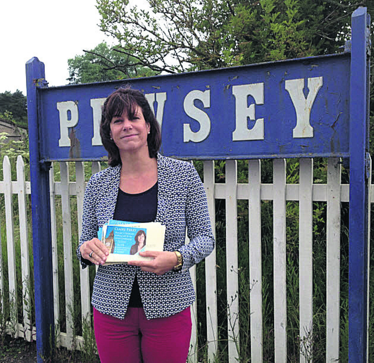 Claire Perry at Pewsey station where she urged commuters to lobby for direct services to Paddington