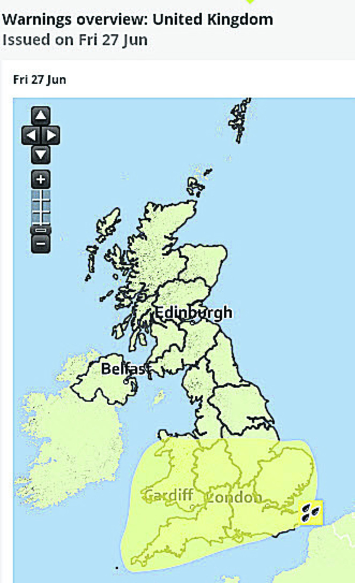 The weather warning map issued by the Met Office today