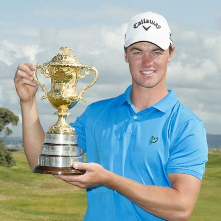 Ben Stow celebrates with the Brabazon Trophy (Photo: Leaderboard Photography)