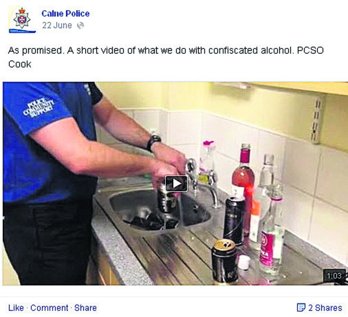 Calne PCSO Mark Cook pours away the confiscated alcohol