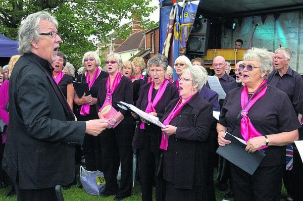 Grenville Jones leading the Devizes Good Afternoon Choir as part of the Queen's Jubilee celebrations in 2012