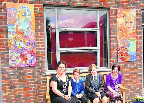John Bentley School in Calne has put up a remembrance bench with artwork either side in memory of ex-pupil, Tylor Stevens. From left are art teacher Emma Bennett, Laurence Bruce, Abbie Lovelock and teaching assistant Ann Brock