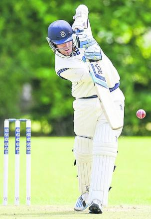 Hampshire's Liam Dawson in batting action during his appearance for Goatacre against Cheltenham on Saturday Picture by Alex Skennerton