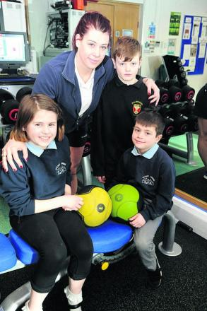 Rebecca Maynard with her children, from left, Lauren, Hayden and Lee at the Activity Zone in Malmesbury where she is a personal trainer                                                           (DV1134) By Diane Vose