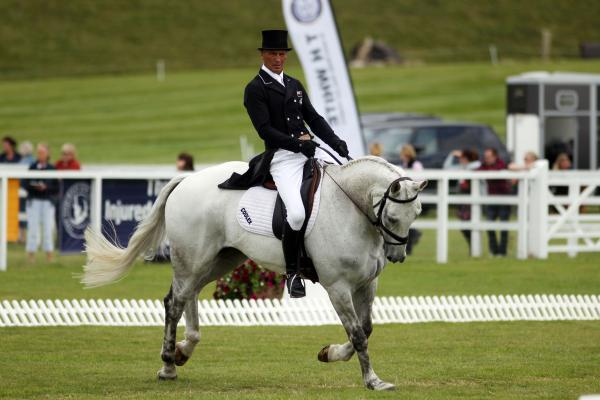 Andrew Nicholson and Avebury compete in the dressage at Barbury today
