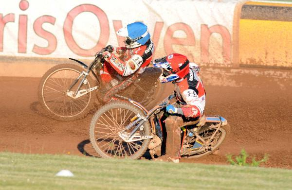 Simon Gustafsson and Nick Morris in action against Poole Pirates