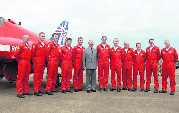 The Wiltshire Gazette and Herald: Prince Charles meets Red Arrows' pilots at the Royal International Air Tattoo