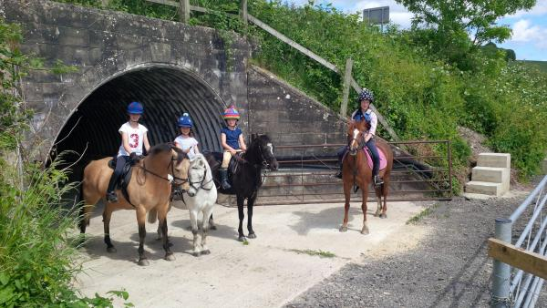 Lottie and Pippa Royle, Molly Rider and their friend Mina Angus make of the reopened tunnel