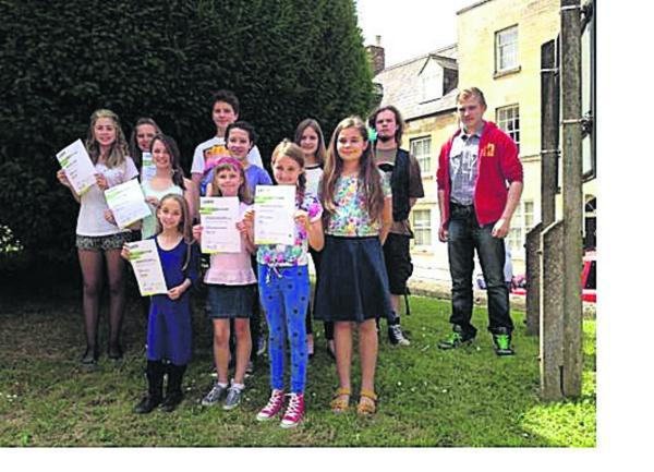 Pupils at Calne Speech and Drama School with their results