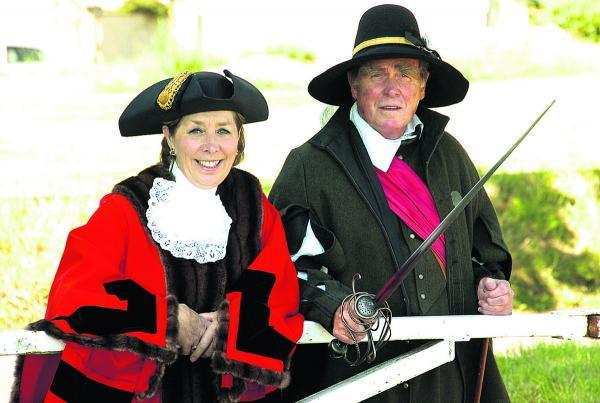 Ian MacDonald-Watson and Mayor Marian Hannaford get ready for battle